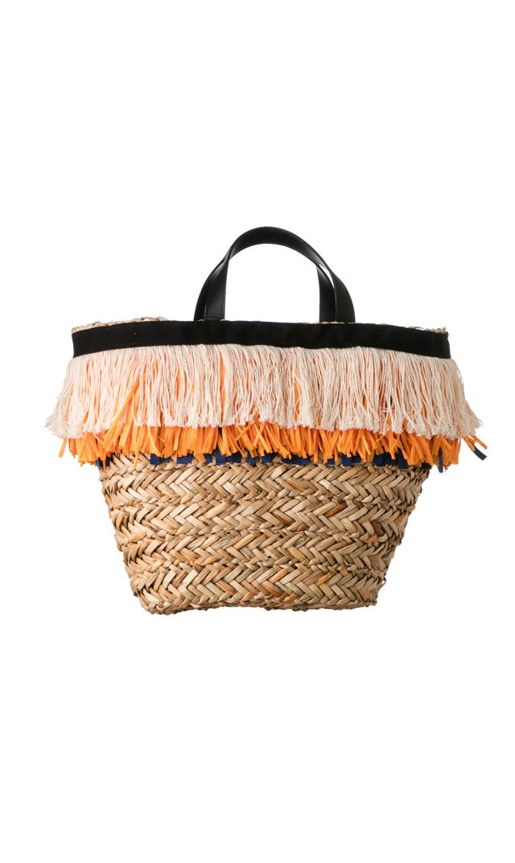 【リバティベル(LibertyBell)】フリンジバスケットバッグ(オレンジ)