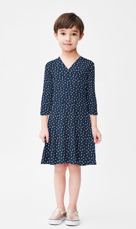 【リトルレオタ(Little LEOTA)】パーフェクトダブルラップドレス(トワイライトドット)3-7歳
