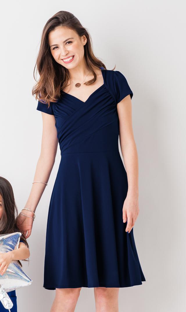 【VIRINA別注/レオタ(LEOTA)】ノンマタニティ・スウィートハートドレス(ネイビー)※子供服あり