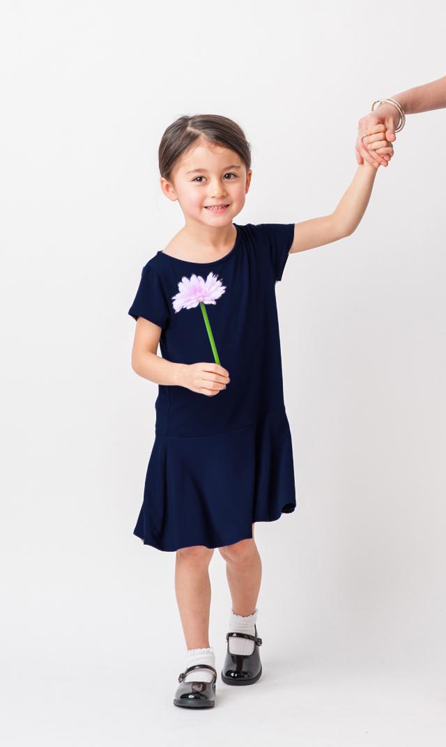 【VIRINA別注/リトルレオタ(Little LEOTA)】ケルシーショートスリーブドレス(ネイビー)2-10歳