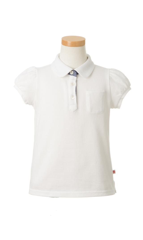 【レディーバグキッズ(Ladybug Kids)】ラウンドネックポロシャツ(ホワイト)4-6歳