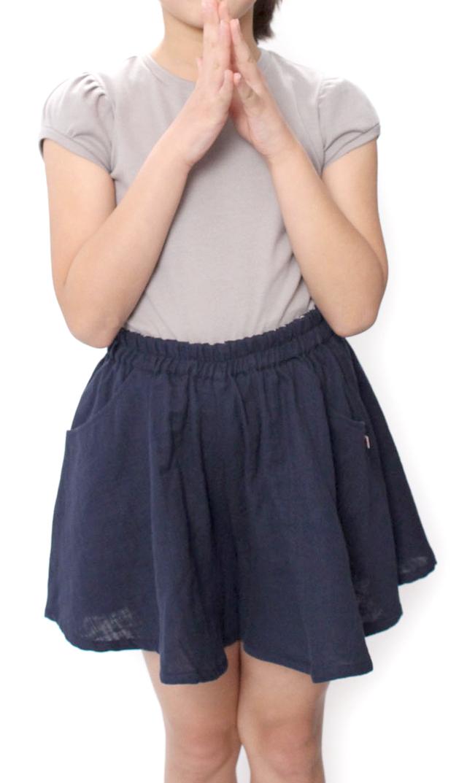 【レディーバグキッズ(Ladybug Kids)】ギャザーキュロットスカート(ネイビー)4-6歳