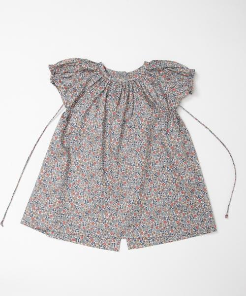 【マキエ】パフスリーブドレス(グレー)/12-18ヶ月