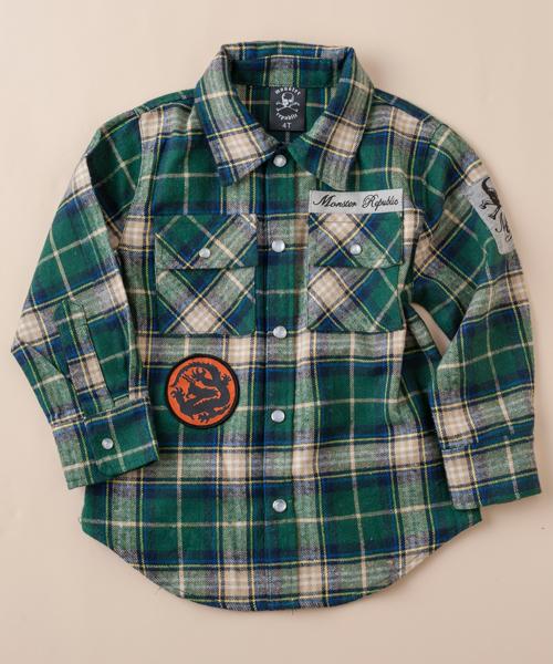 【モンスター リパブリック】チェックシャツ(グリーン)