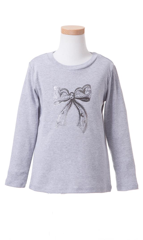 【Ohbaby!(オーベイビー】Bow ロングTシャツ(グレー)2-6歳