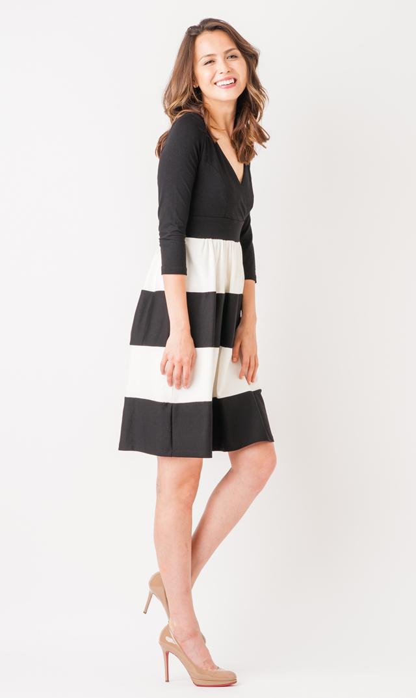 【オリアン(OLIAN)】パメラストライプカシュクールネックドレス(ブラック×ホワイト)