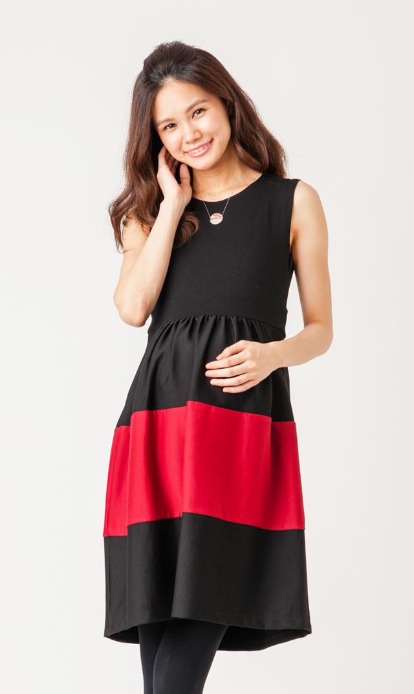 【オリアン(OLIAN)】カロリーナノースリーブドレス(ブラック×レッド)