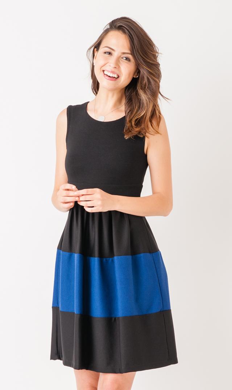 【オリアン(OLIAN)】カロリーナノースリーブドレス(ブラック×ブルー)