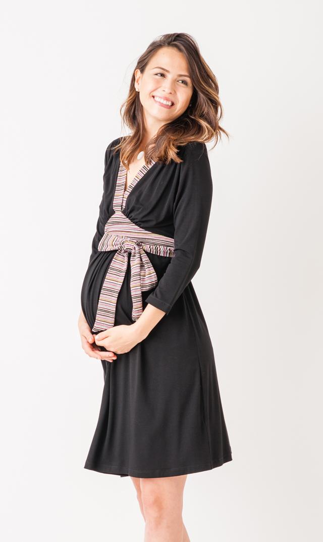 【OLIAN(オリアン)】オードリーナーシングドレス(マルチ×ブラック)
