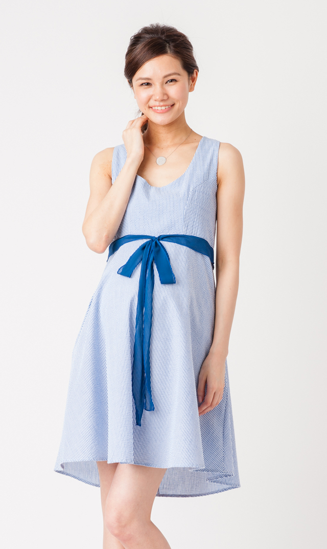 【オリアン】アヴァストライプドレス(ロイヤルブルー)