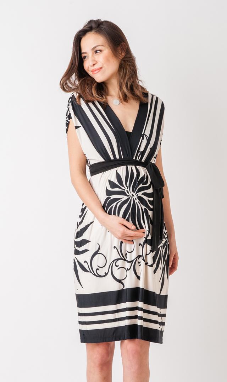 【オリアン(OLIAN)】イザベラフレンチスリーブドレス(ベージュ×ブラックフローラルプリント)