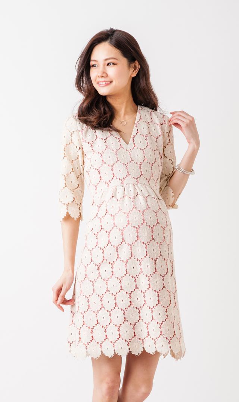 【ポーラヤンツ(PAULA JANZ maternity)】フラワーレースドレス(ホワイト×ローズ)