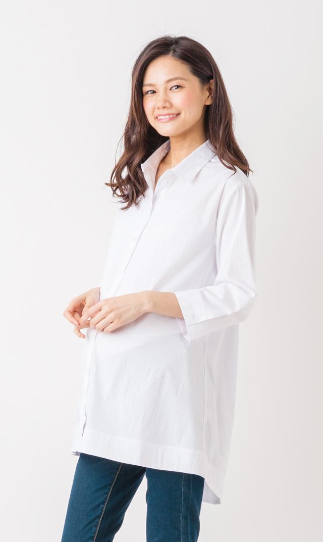 【スーン(SOON)】エッセンシャル7分袖シャツ(ホワイト)