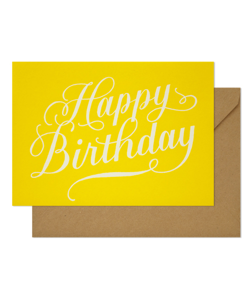 【シュガーペーパー】happy birthday calligraphy, yellow
