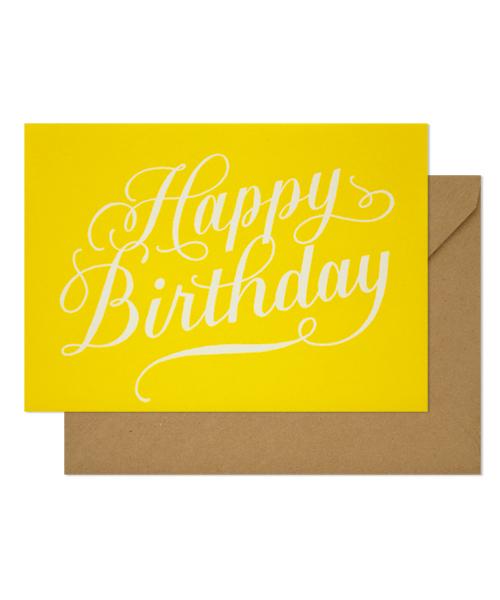 【シュガーペーパー】happy birthday calligraphy, yellow