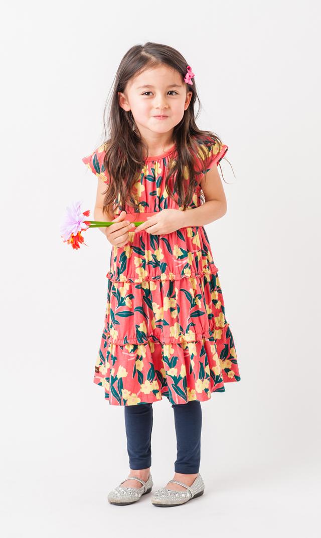 【ティー(TEA)】アデレードルイルドレス(コーラルピンク)2-8歳