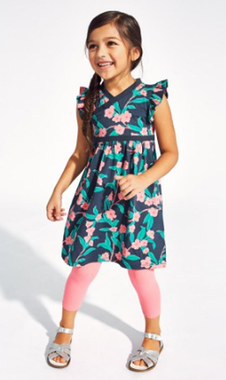 【ティー(TEA)】ブルーミンダブルネックドレス(インディゴ)2-12歳