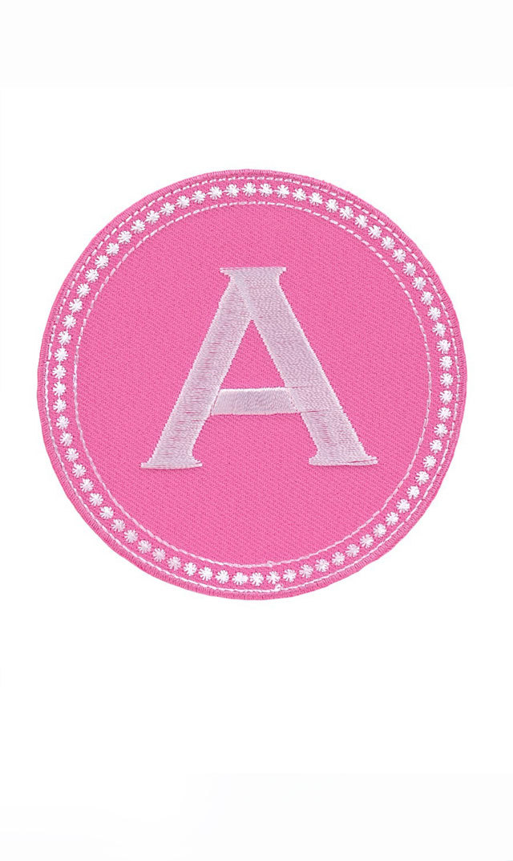 【トス デザイン】ラウンドアルファベットパッチ 小(ピンク)