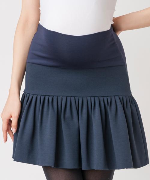 【ヴィリーナ マタニティ】プリーツスカート(ネイビー)