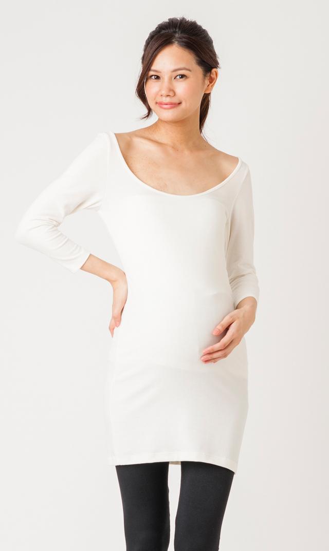 【ヴィリーナ マタニティ】授乳用ホットロング&スリーブインナー(ホワイト)