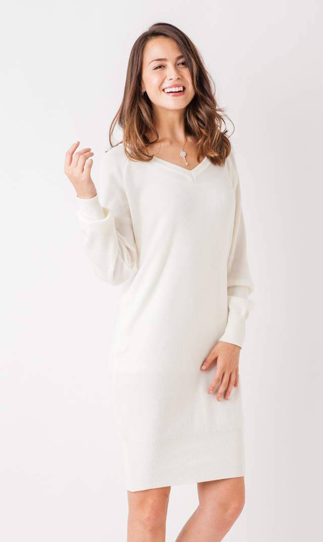 【ヴィリーナ(VIRINA)】Vネックナーシングニットドレス(ホワイト)