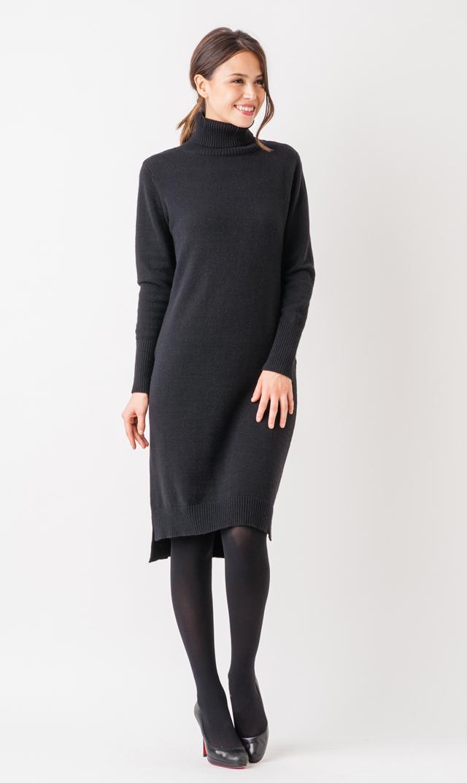 【ヴィリーナ(VIRINA)】タートルナーシングニットドレス(ブラック)