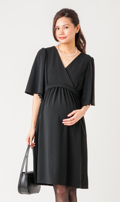 【ヴィリーナ(VIRINA)】フレアスリーブナーシングドレス(ブラック)