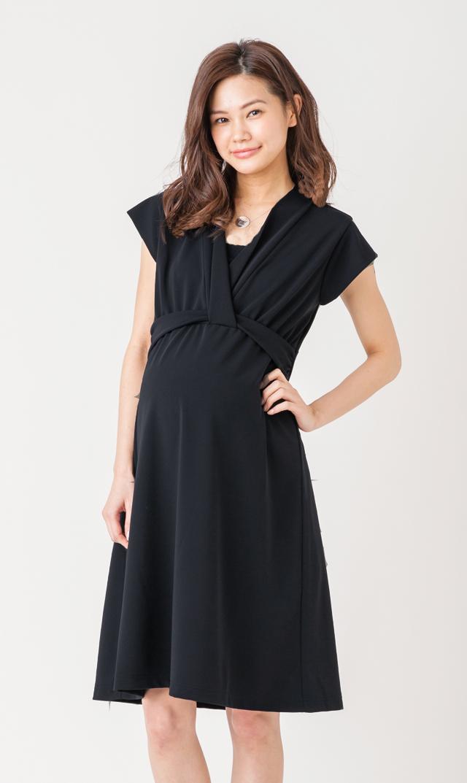 【ヴィリーナ(VIRINA)】ナーシングタイネックドレス(ブラック)