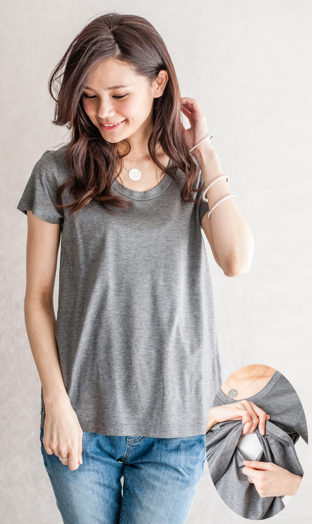 【ヴィリーナ(VIRINA)】ベーシックナーシングTシャツ(チャコール)