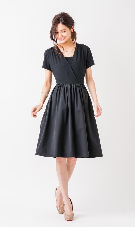 【ヴィリーナ(VIRINA)】サラカラーブロックナーシングドレス(オールブラック)