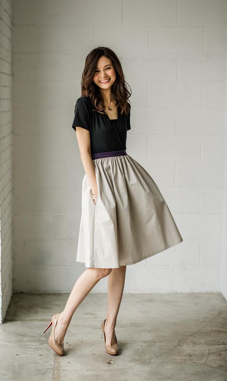 【ヴィリーナ(VIRINA)】サラカラーブロックナーシングドレス(ブラック×ベージュ)