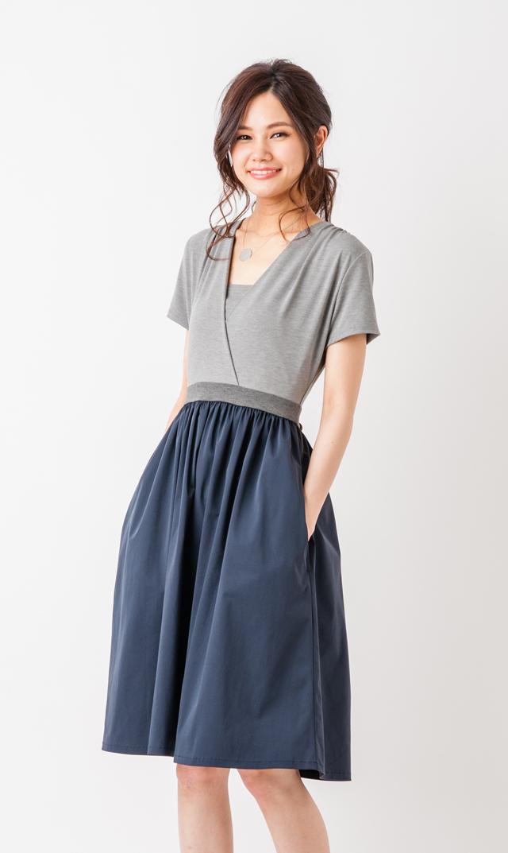 【ヴィリーナ(VIRINA)】サラカラーブロックナーシングドレス(グレー×ネイビー)