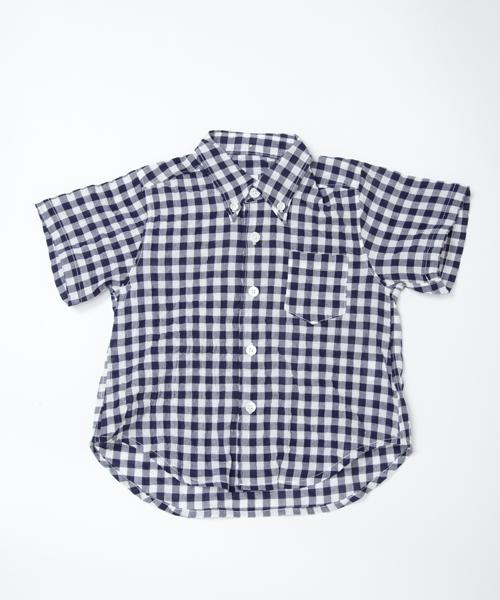 【マキエ】ギンガムチェックシャツ(ネイビー×ホワイト)/2歳