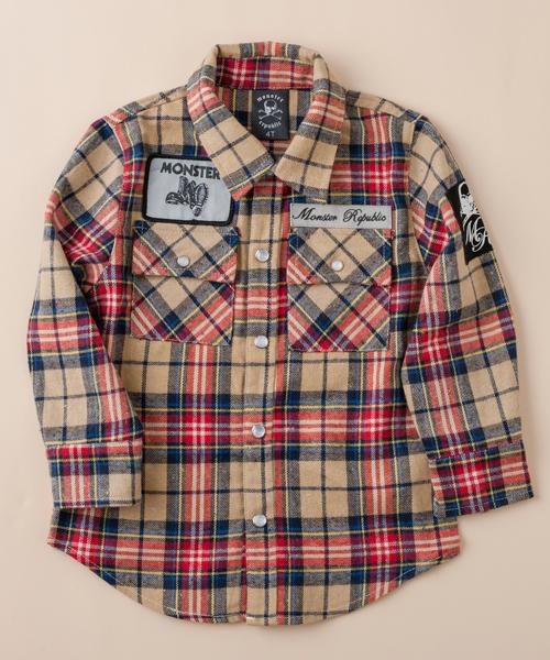 【モンスター リパブリック】チェックシャツ(レッド)