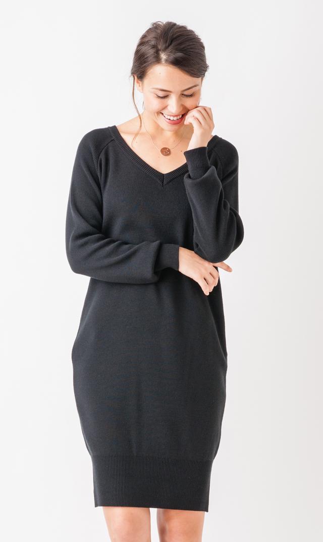 【VIRINA(ヴィリーナ)】Vネックナーシングニットドレス(ブラック)