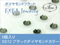 耳つぼジュエリー 痛くないフラットタイプ SS12 ブラックダイヤモンド 8個入 exj0812-215 金属アレルギーフリー (メール便可)