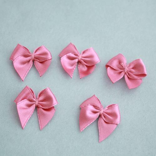 モチーフ-ミニリボン5個セット(濃ピンク)
