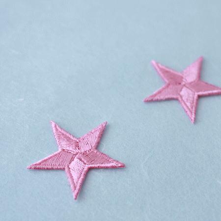 アップリケ-中サイズの星・ピンク(1枚)