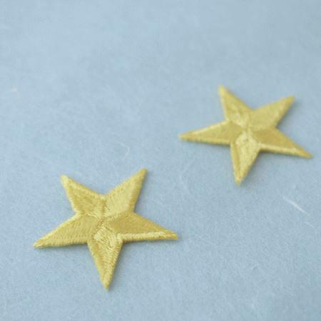 アップリケ-中サイズの星・黄色(1枚)