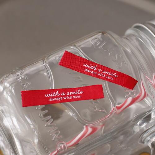 ばら刺繍タグ‐リニューアルwith a smile(赤色×白)