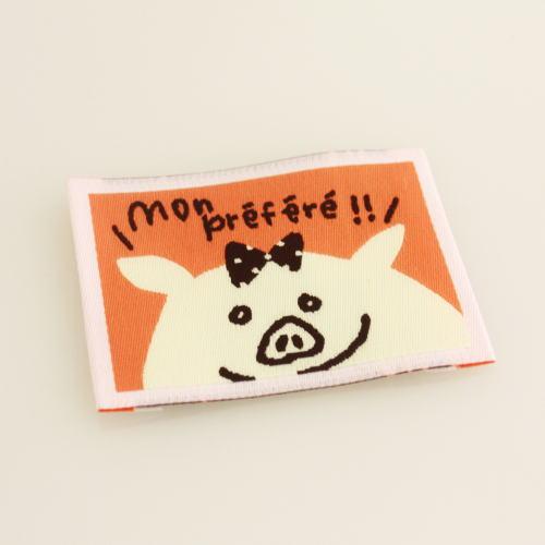 ばら刺繍タグ‐かくれんぼぶた(橙)