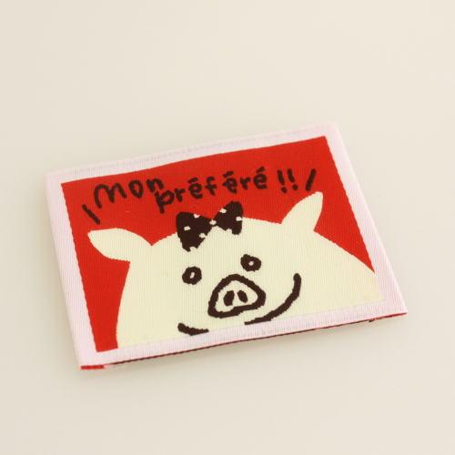 ばら刺繍タグ‐かくれんぼぶた(赤色)