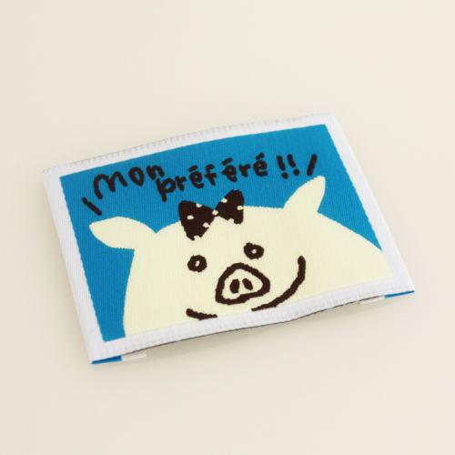 ばら刺繍タグ‐かくれんぼぶた(空色)