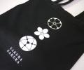 和柄スウェットトートバッグ「さくら桜」(ブラック)