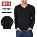 EDWIN エドウィン デイリーウェア 57305 RIB VネックTシャツ BLACK