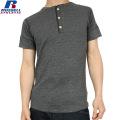 RUSSELL ラッセル CLASSIC ワッフル ヘンリーネック H/S Tシャツ ブラック