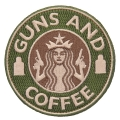 GUNS AND COFFEE ワッペン (パッチ)ベルクロ付き GREEN&TAN Largeサイズ