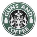 GUNS AND COFFEE ワッペン (パッチ)ベルクロ付き GREEN&WHITE Largeサイズ