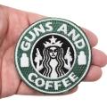 GUNS AND COFFEE ワッペン (パッチ)ベルクロ付き GREEN&WHITE Smallサイズ