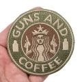 GUNS AND COFFEE ワッペン (パッチ)ベルクロ付き GREEN&TAN  Smallサイズ